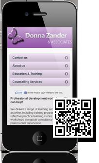Donna Zander & Associates's mobile site built with Mobidoo