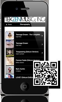 TEKZENMUSIC, INC.'s mobile site built with Mobidoo